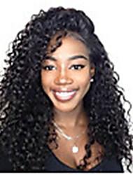Недорогие -человеческие волосы Remy Лента спереди Парик Бразильские волосы Афро Квинки Черный Парик Ассиметричная стрижка 130% 150% Плотность волос с детскими волосами Женский Легко туалетный Sexy Lady