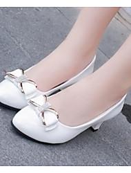 Női Kényelmes cipők PU Tavasz   Ősz Magassarkúak Vaskosabb sarok Fehér    Fekete   Piros 195f594cfa