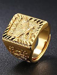 baratos -Homens Fashion Anel - 18k Ouro Eagle Fashion Ajustável Dourado Para Diário Festa de Noite