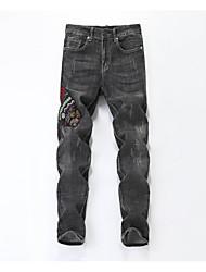 preiswerte -Herrn Street Schick Jeans Hose Einfarbig Schwarz & Rot