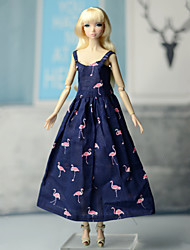 cheap -Dresses One-Piece For Barbie Doll Blue Elastic Satin / Cotton / Polyester Blend Dress For Girl's Doll Toy