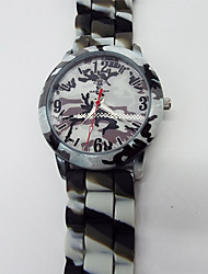 Недорогие -Муж. Армейские часы Кварцевый силиконовый Белый / Зеленый Фосфоресцирующий Аналоговый Цветной - Белый Зеленый