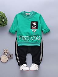 Недорогие -малыш Мальчики Черный и красный Однотонный Длинный рукав Набор одежды