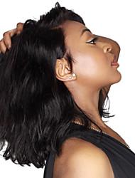 abordables -Cheveux Rémy Full Lace Dentelle frontale Perruque Cheveux Brésiliens Ondulé Perruque Partie médiane 130% Densité des Cheveux Taille moyenne Ligne de Cheveux Naturelle Noir Femme Court Perruque