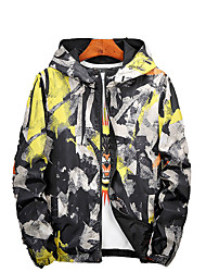 cheap -Men's Sports Jacket - Floral Print Hooded / Long Sleeve