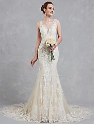 baratos -Linha A Decote V Cauda Corte Renda / Tule Vestidos de casamento feitos à medida com Miçangas / Renda de LAN TING BRIDE®