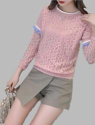 baratos -Mulheres Camisa Social Renda / Frufru / Patchwork, Sólido / Listrado / Estampa Colorida