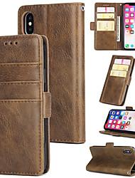 Недорогие -Кейс для Назначение Apple iPhone X / iPhone 8 Plus / iPhone XS Кошелек / Бумажник для карт / со стендом Чехол Однотонный Твердый Настоящая кожа для iPhone XS / iPhone XR / iPhone XS Max