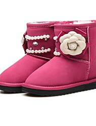 cheap -Girls' Shoes Rabbit Fur / Suede Winter Snow Boots Boots Rhinestone / Chain / Flower for Kids / Toddler Black / Peach / Pink / Mid-Calf Boots / Party & Evening