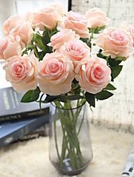 baratos -Flores artificiais 5 Ramo Clássico / Solteiro (L150 cm x C200 cm) Estiloso / buquês de Noiva Rosas Flor de Mesa