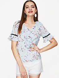 Недорогие -женская флешка втулка полиэфирная свободная блуза - цветочная, печать