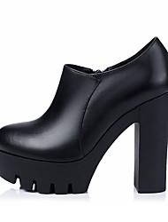 Недорогие -Жен. Обувь Наппа Leather Осень Ботильоны Ботинки На толстом каблуке Ботинки Черный