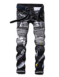 cheap -Men's Punk & Gothic Jeans Pants - Color Block Black & Gray, Hole / Patchwork