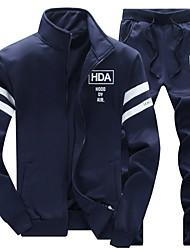 Недорогие -Муж. Спорт Большие размеры Куртка Воротник-стойка Буквы / Длинный рукав