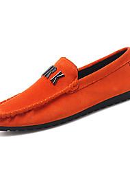 Недорогие -Муж. Наппа Leather Наступила зима Удобная обувь Мокасины и Свитер Черный / Оранжевый / Серый
