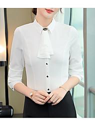Недорогие -Жен. Пэчворк Рубашка Классический Однотонный