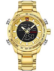 Недорогие -NAVIFORCE Муж. Нарядные часы Наручные часы Японский Японский кварц 30 m Защита от влаги Новый дизайн Повседневные часы Нержавеющая сталь Группа Аналого-цифровые Роскошь На каждый день / Два года