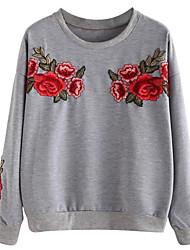 baratos -camisola de mangas compridas para senhora - floral em volta do pescoço