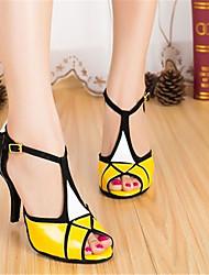 cheap -Women's Latin Shoes / Modern Shoes Satin / Faux Leather Sneaker Splicing Slim High Heel Dance Shoes Golden / White