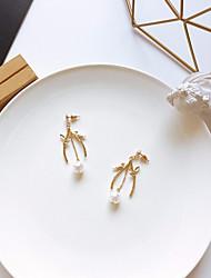 abordables -Mujer Elegante / Cadena de enlace Pendientes colgantes / cuelga los pendientes - Perla Artificial, S925 Sterling Silver Pájaro, Forma de Hoja Elegante, Dulce Dorado Para Cita / Trabajo