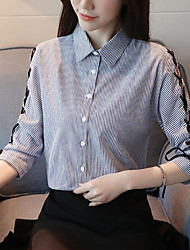 cheap -Women's Street chic / Exaggerated Shirt - Striped Blue & White, Bow / Tassel / Lace up