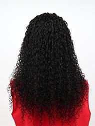 abordables -Cabello Remy Encaje Frontal Wig Cabello Brasileño Afro Kinky Peluca Corte asimétrico 130% Mujer / Fácil vestidor / sexy lady Negro Mujer Muy largo Pelucas de Cabello Natural