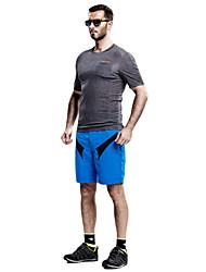 baratos -SANTIC Homens Shorts para Ciclismo Moto Shorts / Shorts largos / Shorts Roupa interior Respirável, Tapete 3D, Secagem Rápida Retalhos Azul Roupa de Ciclismo / Com Stretch / Shorts Acolchoados