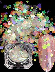 abordables -2 pcs Paillettes Style mini / Dégradé de Couleur / Meilleure qualité Cœur Arc-en-ciel Manucure Manucure pédicure Noël / Halloween / Fête scolaire Artistique / Doux