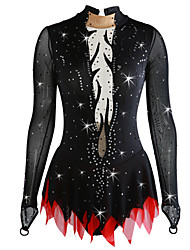 cheap -Figure Skating Dress Women's / Girls' Ice Skating Dress Black Spandex Micro-elastic Professional Skating Wear Sequin Long Sleeve Figure Skating