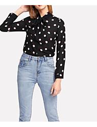 billige -kvinder går ud slank bluse - farve blok / polka dot besætning hals