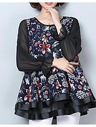 billige -kvinders bluse - blomstret rundt hals