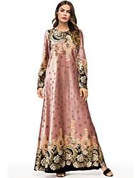 abordables -Femme Basique Maxi Abaya Robe - Imprimé, Fleur Automne Rose Claire XXL XXXL XXXXL Manches Longues