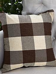 cheap -1 pcs Cotton / Linen Pillow Cover, Plaid / Checkered Modern / Contemporary