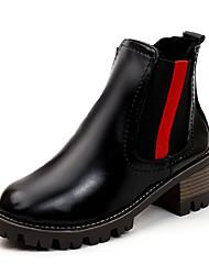 Недорогие -Жен. Fashion Boots Полиуретан Осень На каждый день Ботинки На толстом каблуке Сапоги до середины икры Черный / Контрастных цветов