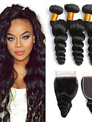 Недорогие -3 комплекта с закрытием Малазийские волосы Свободные волны 8A Натуральные волосы Головные уборы Удлинитель Пучок волос 8-24 дюймовый Черный Естественный цвет Ткет человеческих волос
