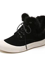 Недорогие -Жен. Fashion Boots Замша Зима Милая Ботинки Для прогулок На плоской подошве Круглый носок Ботинки Черный / Темно-коричневый