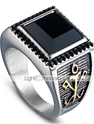 cheap -Men's Vintage Style 3D Band Ring - Titanium Steel Vintage, Punk 9 / 10 Gold / Silver For Halloween Daily Street