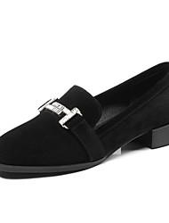 abordables -Femme Chaussures de confort Daim Automne Mocassins et Chaussons+D6148 Talon Bottier Noir / Gris clair