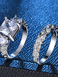 baratos -Mulheres Anel Conjunto de anéis - Pedaço de Platina, Imitações de Diamante Amor, Onda Romântico, Fashion, Francês 6 / 7 / 8 / 9 / 10 Prata Para Festa Noivado / 2pcs