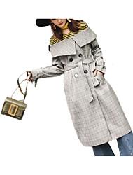 cheap -Women's Trench Coat - Plaid / Checkered Shirt Collar