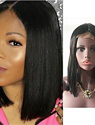 economico -capelli naturali Remy Lace integrale Lace frontale Parrucca Brasiliano Liscio Nero Parrucca Taglio asimmetrico 130% 150% 180% Densità dei capelli con i capelli del bambino Da donna sexy Lady Naturale