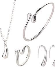 Недорогие -Жен. Классический Длиные Комплект ювелирных изделий - Свисающие, «Груша» Дамы, Простой, Классический Включают Серьги-кольца Ожерелья с подвесками Открытое кольцо Серебряный Назначение