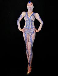 baratos -Fantasia de Dança Roupas de Dança Exótica / Body de Strass Mulheres Espetáculo Elastano Cristal / Strass Manga Longa Collant / Pijama Macacão