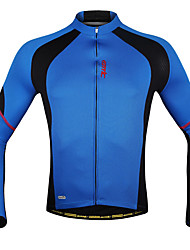 cheap Sports & Outdoors-SANTIC Men's Long Sleeve Cycling Jersey - Blue Patchwork Bike Jacket Jersey Top, Breathable Quick Dry Ultraviolet Resistant Polyester Lycra / High Elasticity / Stretchy / Advanced / Sweat-wicking