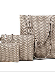 baratos -Mulheres Bolsas PU Conjuntos de saco 3 Pcs Purse Set Ziper Preto / Marron / Khaki