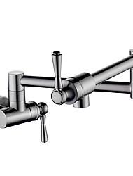 Недорогие -кухонный смеситель - Две ручки одно отверстие Матовый никель Горшок Filler На стену Современный