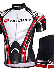 cheap -Nuckily Short Sleeve Cycling Jersey with Shorts - Black Bike Shorts / Jersey / Clothing Suit, Waterproof, Ultraviolet Resistant, Breathable Polyester / Stretchy / SBS Zipper / Reflective Strips