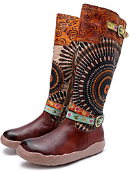 cheap -Women's Comfort Shoes Cowhide Fall & Winter Vintage Boots Flat Heel Knee High Boots Brown