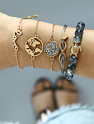 abordables -Femme Zircon Effets superposés Bracelets - Plans, Lettre Luxe, Mode Bracelet Or Pour Vacances Sortie / 5pcs