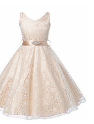 Недорогие -Дети Девочки Милая Однотонный Без рукавов Платье Лиловый 140